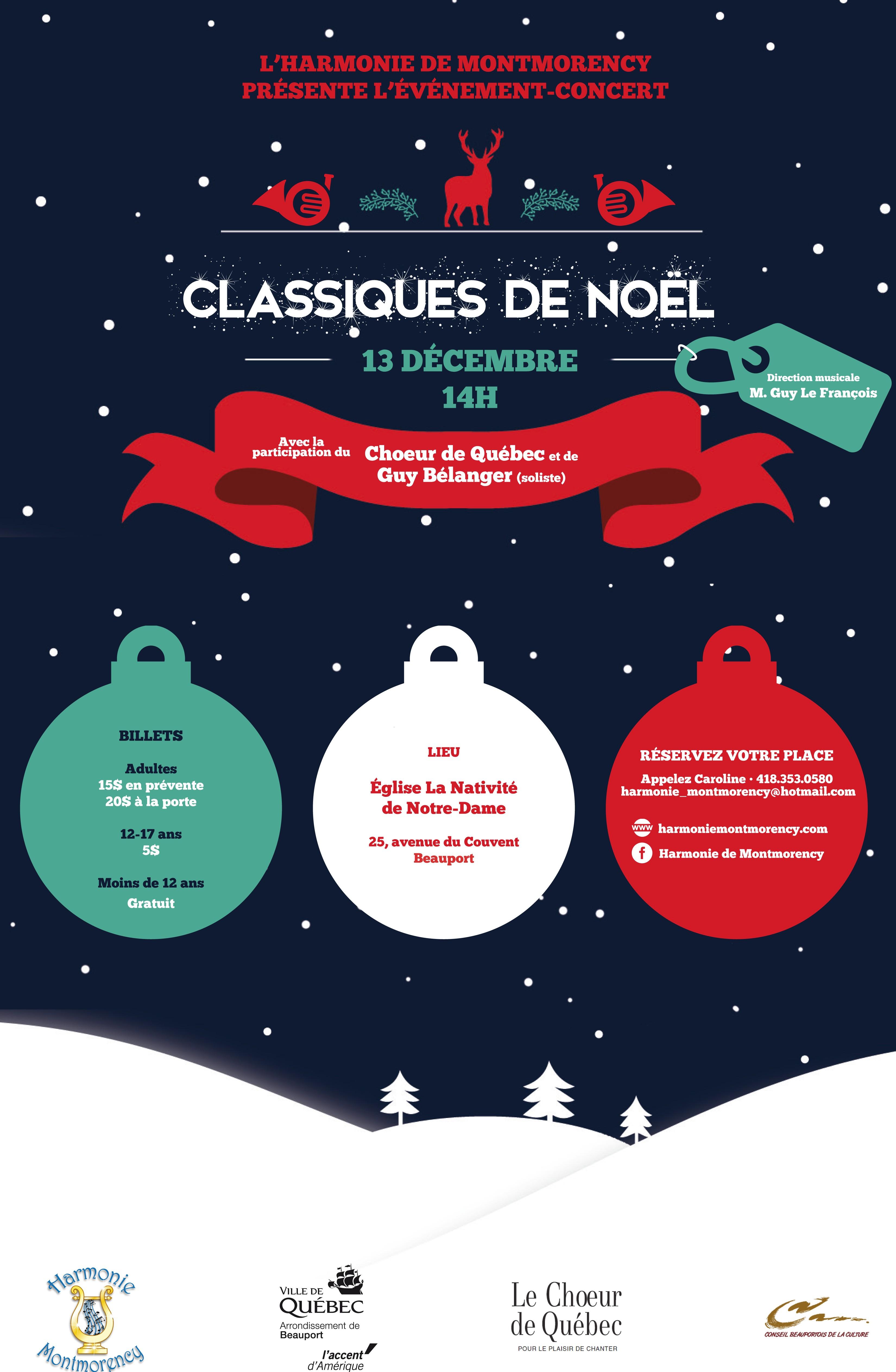 affiche noel Concert de Noël : Billets! | Harmonie de Montmorency, Québec affiche noel